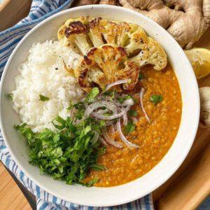 Easy Vegan Dal recipe displayed in a bowl.