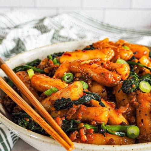 Spicy Vegan Rice Cakes (Momofuku Tteokbokki)