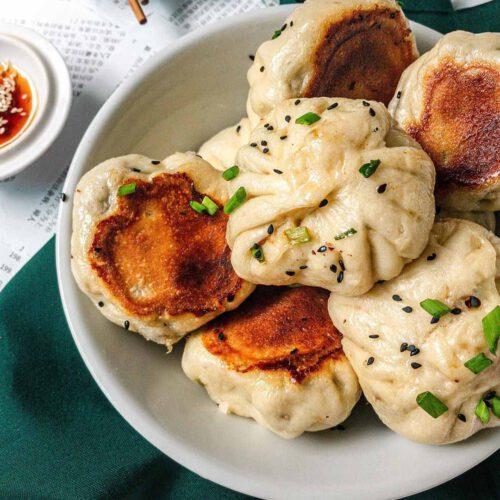 Vegan Pan Fried Mushroom & Chive Buns