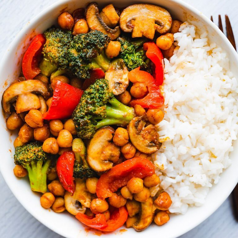 BBQ Chickpea Veggie Stir-Fry recipe served in bowl with rice.