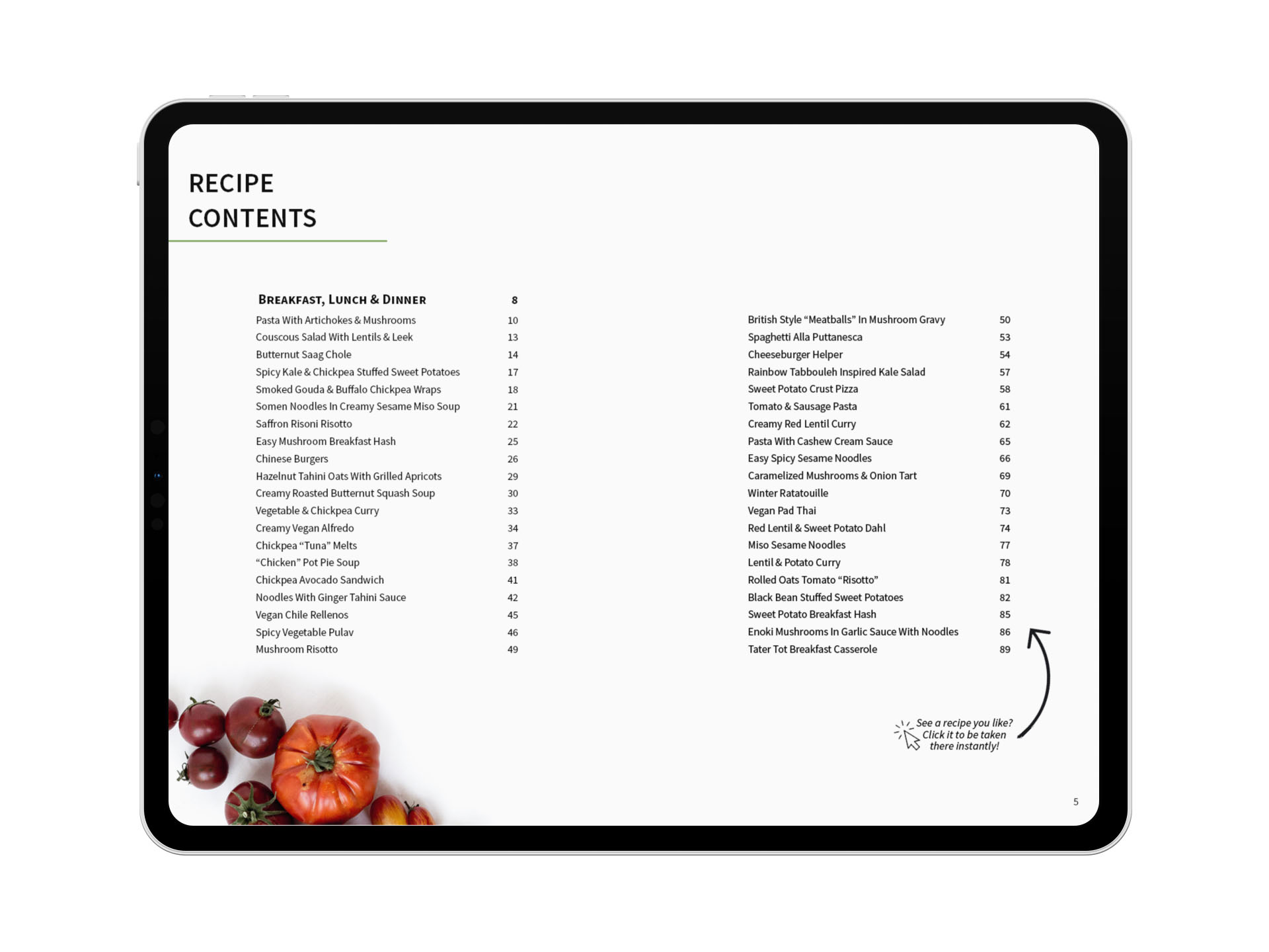 eBook Recipe Contents