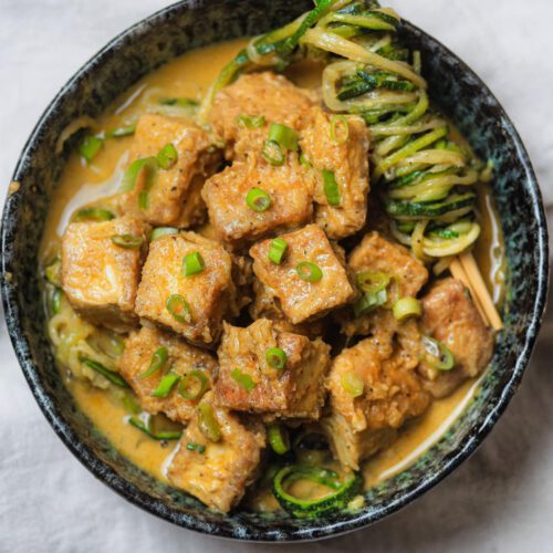 Peanut Tofu with Zucchini Noodles