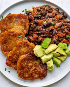 Creamy Almond Butter Black Bean Chili & Plantain Fritters