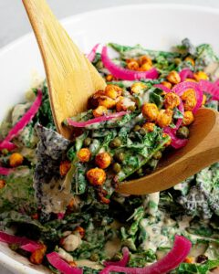 Kale Caesar Salad With Chickpea Croutons