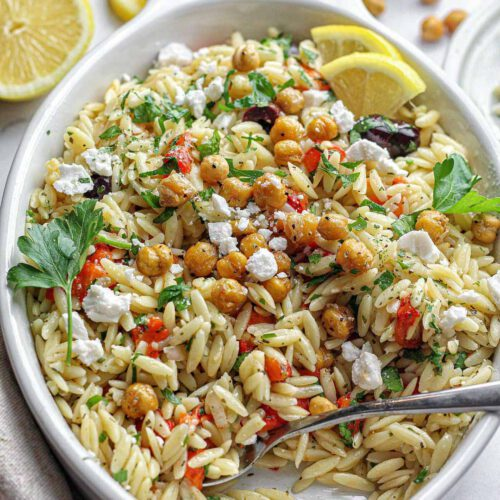 Orzo with Roasted Chickpeas