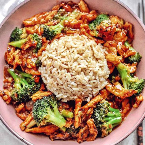 Saucy Soy Curls with Broccoli and Brown Rice