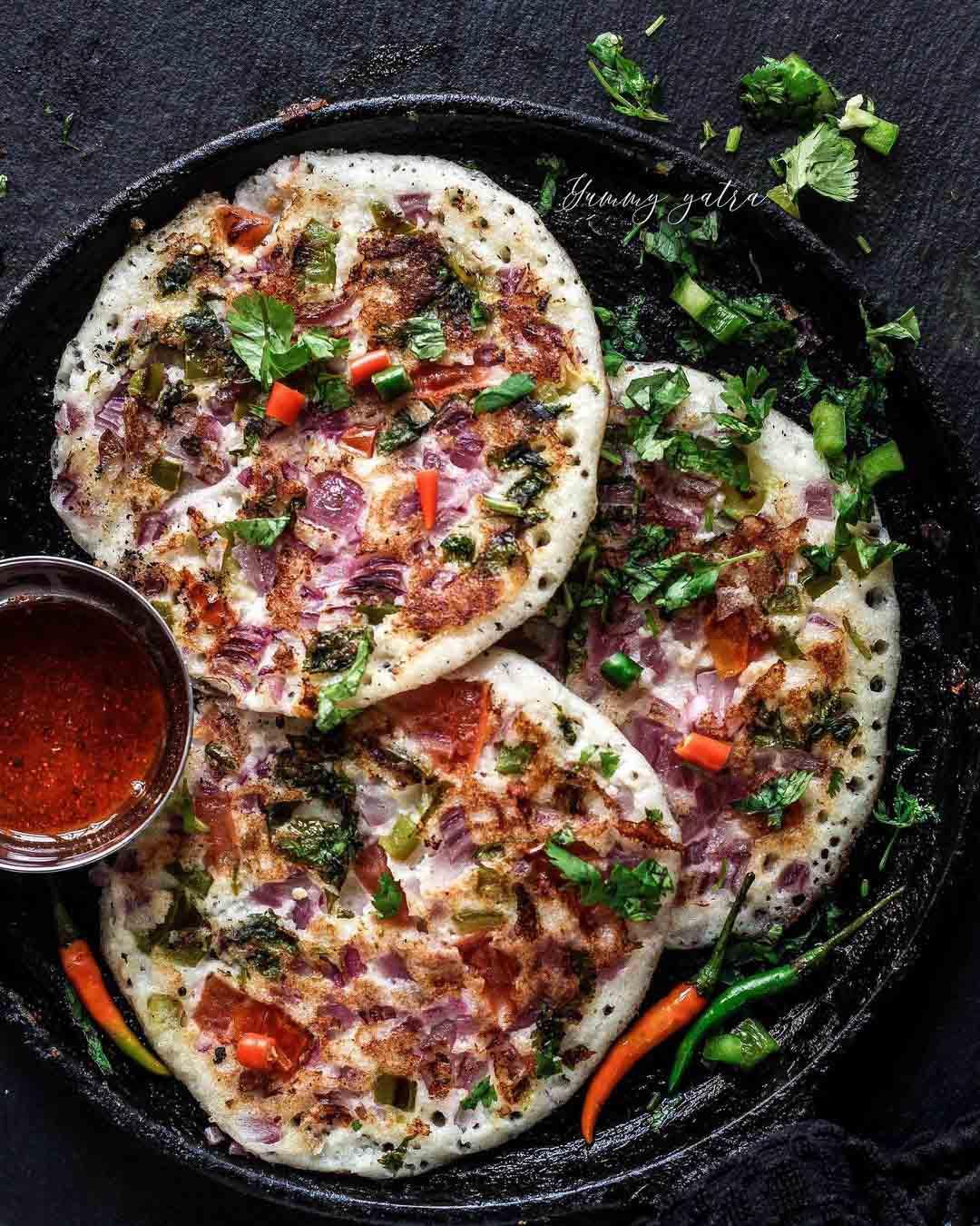 Vegetable Uttapam (Savory Pancakes)