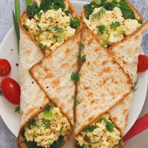 """No Egg"" Salad Matzah Wraps"