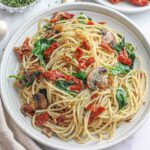Spinach & Mushroom Spaghetti with Sun-Dried Tomatoes