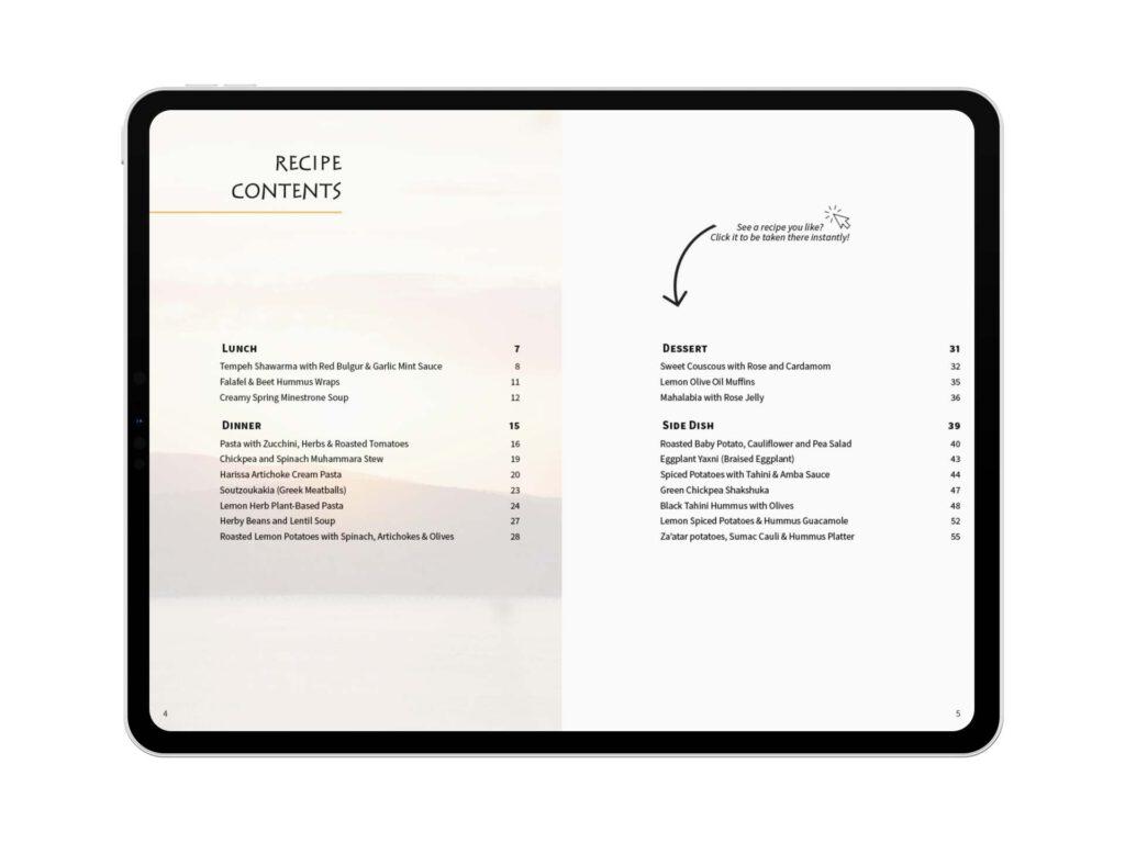 Recipe Content on iPad