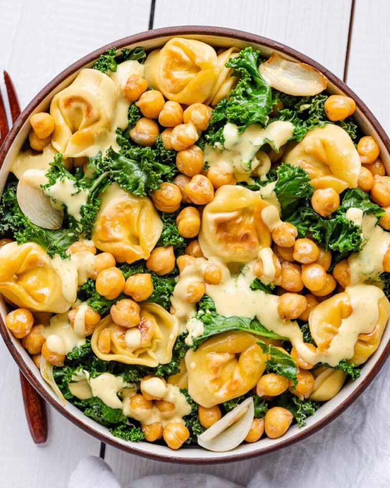 Tortellini & Chickpea Kale Salad