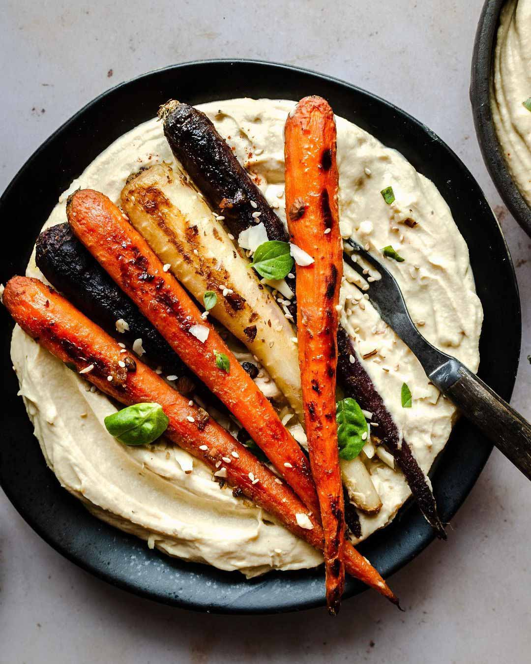 Miso Roasted Carrots with Hummus