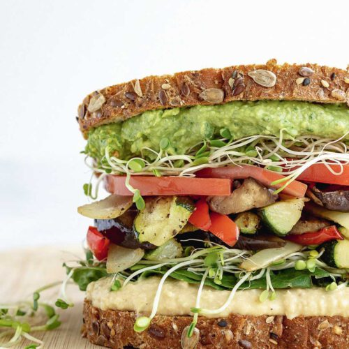 Roasted Veggie Sandwich recipe displayed on a plate.