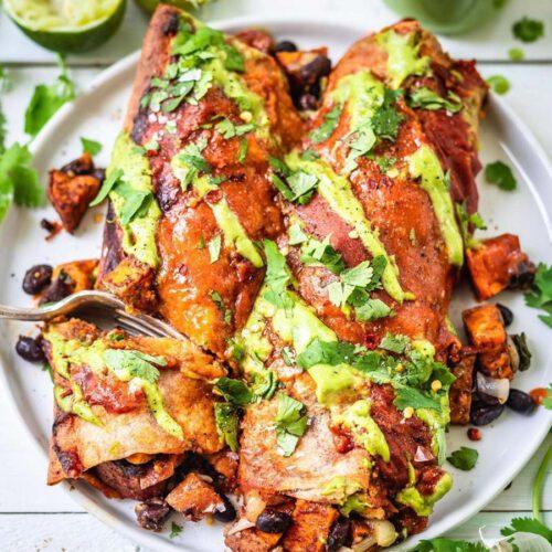Sweet Potato Black Bean Enchiladas recipe served on plate.