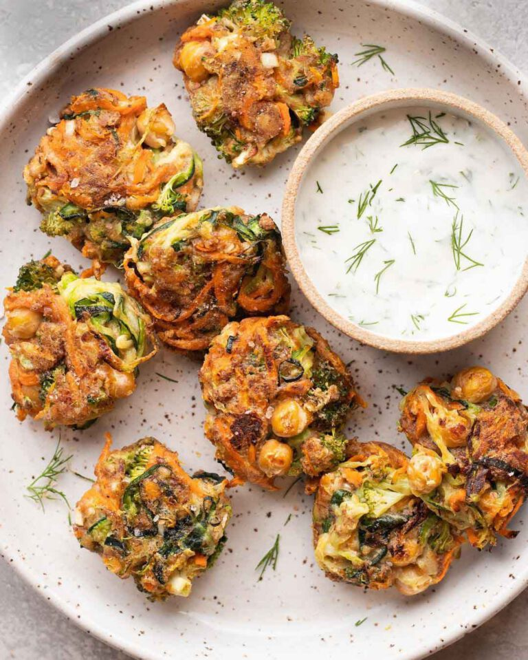 Vegan Broccoli Chickpea Fritters recipe served on a plate.