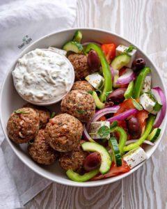 Vegan Greek Meatballs with Tzatziki recipe served in a bowl.