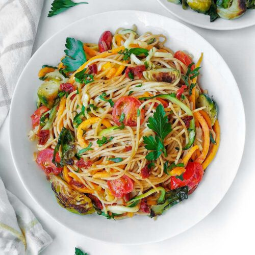 Vegan Winter Vegetable Pasta recipe displayed on a plate.