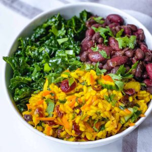 Caribbean Red Beans and Turmeric Rice recipe served in a bowl.