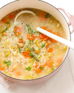 Chickpea & Rice Soup recipe served in a large pot.