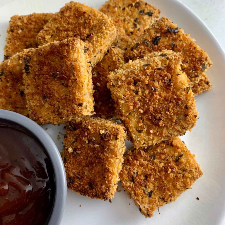 Crispy Tofu Nuggets recipe served with ketchup.