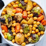Balsamic-Maple Roasted Veggies & Chickpeas recipe served in a bowl.
