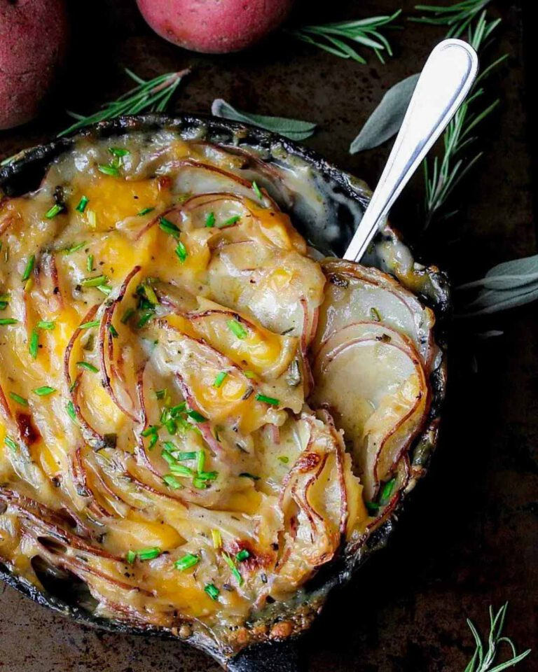 Garlic Herbed Scalloped Potatoes recipe served in a bowl.