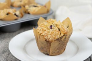 Jumbo Bakery Style Blueberry Muffins recipe served in a cupcake.