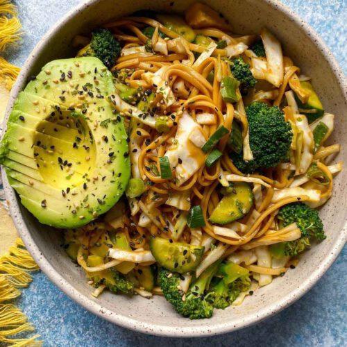 Sesame Noodle Salad recipe served in a bowl.