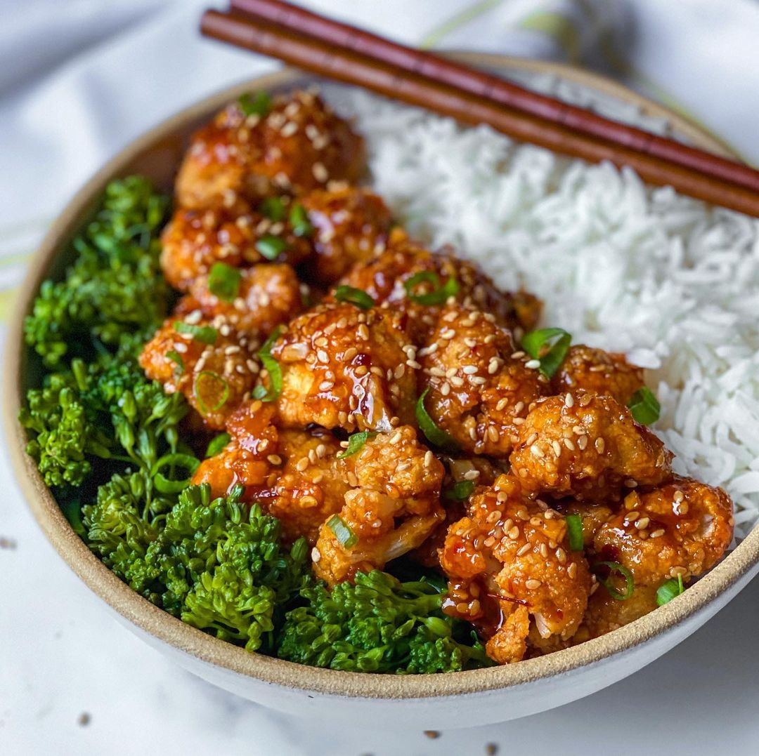 Better Than Takeout Sesame Cauliflower recipe served in a bowl.