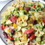 Roasted Tomato & Zucchini Farfalle recipe served on a plate.
