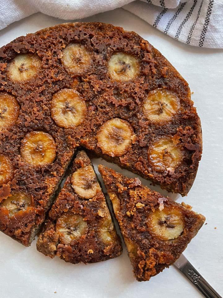 Vegan Banana Upside-Down Cake recipe served on a plate.